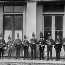 Image of N2435 - REMARKS:Roseburg Band, ca. 1870s. Probably on Jackson St.  OBJECT DATE:ca. 1870s