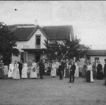 Image of N2970 - COUNT:2  REMARKS:J.R.N. Bell home, West Roseburg. Built in 1890? Croquet game in progress