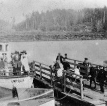 """Image of N3327 - REMARKS:Steam launch UMPQUA with barge and small boat. ca. 1910.  INSCRIPTION:Hazel Lyster Ditgen, white dress on bow; Merle Boak Perkins, next.""""  OBJECT DATE:ca. 1910"""