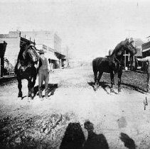 Image of N3485 - REMARKS:Horses on Locust St., Oakland, at corner of First St.; probably prize stallions. Man at right is thought to be Horace F. Deardorff. Photo prior to 1899 fire.