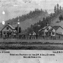 Image of N364 - REMARKS:Homes of D.W. and G.J. Stearns, Oakland. (from an engraving in Walling)