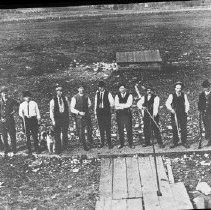 Image of N3682 - REMARKS:Trap shooters on range at old Fair Grounds site (present Eastwood School) Roseburg, Or. ca. 1914?