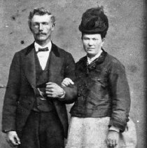 Image of N3918 - REMARKS:Unidentified captain and wife; he was captain of the ship Joseph Francis deserted from in North California in 1877.