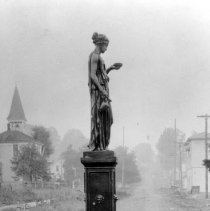 Image of N3938 - The fountain and statue of HEBE, intersection of Cass & Main Streets, Roseburg, Or. View looking south up Main Street. ca. 1908.