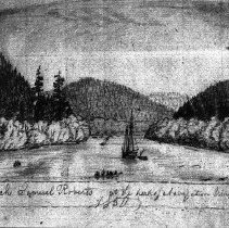 Image of N5282C - REMARKS:Sketch from Lyman Journal: SAMUEL ROBERTS at head of navigation in 1850, near Scottsburg.