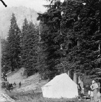 Image of N5938 - REMARKS:Prof. Owens and Joe Harvey, close up of tent camp, Crater Lake trip.