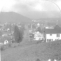 Image of N6 - View of Roseburg looking west down Cass from hilll east of town. View shows old Presbyterian church, Douglas county flouring mill, Mt. Nebo, houses, etc. @ 1910. Stereo view.
