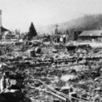 Image of N6151 - Ten negatives: views of Glendale after the fire, 10 July 1928. The fire occurred between 6 and 7 P.M., according to one source.