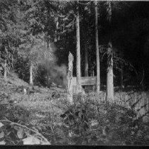 Image of N6258 - COUNT:2  REMARKS:Becker Homestead; log cabin and picket fence in clearing, dense timber in rear.