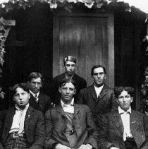 """Image of N6462 - COUNT:2  REMARKS:The Safety Pin Gang or """"Safety Gang;"""" six young men seated in the Melrose Area. In the first row (left to right): Ira Pierce; Vivan T. Jackson; Elmer Pierce. Rear (left to right): ?; ?; Stemen Diller.  OBJECT DATE:ca 1915"""
