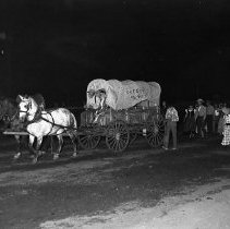 Image of N7996 - REMARKS:A covered wagon drawn by light and dark horses at the Douglas County Pageant, August 30-September 1, inclusive, 1952, at the Douglas County Fairgrounds.  OBJECT DATE:August 30-September 1, 1952, inclusive
