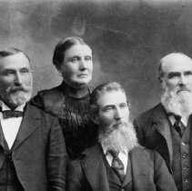 Image of N835 - REMARKS:Shrum & Wimberly group. Left to right: Nicholas Shrum (not in Doug. Co.) Nancy Ann (Marks) Wimberly and Enoch Wimberly, DLC, Thomas Shrum, DLC.