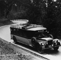 """Image of N8363 - REMARKS:Oregon Stages bus on Pacific Highway, Douglas County. ca. 1927. Bus has destination sigh """"Portland"""" in front.  OBJECT DATE:ca. 1927"""