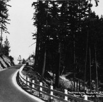 """Image of N8498 - REMARKS:View on old Pacific Highway, a paved road from a postcard view marked """"Approaching summit of Wolf Creek Hill near Glendale, Douglas County, Oregon"""". ca. 1920  OBJECT DATE:ca. 1920"""