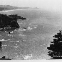Image of N8807 - REMARKS:View of Oregon coast and the Pacific ocean from Otter Crest. Highway 101. View shows arch rock at lower left.