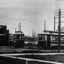 Image of N9057 - REMARKS:The Portland, Eugene and Eastern Railway Street Cars at the Eugene, Oregon, street car barns; ca. 1905.