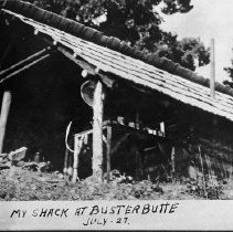"""Image of N9405 - REMARKS:Umpqua National Forest Service; cabin at Buster Butte  INSCRIPTION:""""My shack at Buster Butte July -27"""""""