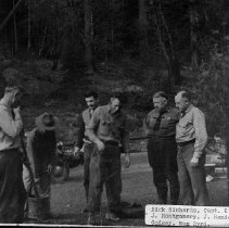 Image of N9443 - REMARKS:Umpqua National Forest Service; A Forest Service group with CCC officers. Dick Richards; Captain Kinoshita; J. Montgomery; J. Rondeau; Bill Godsey; Max Byrd.
