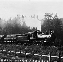Image of N9447 - REMARKS:A close up of Coos Bay, Roseburg and Eastern Railroad and Navigation Company #4 and log train, Coquille to Marshfield.