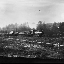 Image of N9448 - REMARKS:A close up of Coos Bay, Roseburg and Eastern Railroad and Navigation Company #4 and log train, Coquille to Marshfield.