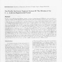 Image of bibliography; illustrations  AUTHOR:David Greenland  REMARKS:[from ABSTRACT:] The H.J. Andrews (HJA) Experimental Forest, Oregon, Long-Term Ecological Research (LTER) site is a key research location in the Pacific Northwest (PNW). This paper endeavors to place the climate of the HJA into its regional context.... - reprint