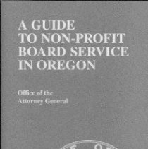Image of bibliography  REMARKS:Pamphlet describing the rights and responsibilities of members of boards of nonprofit organizations. Discusses such issues as conflicts of interest, responsibilities of reasonable inquiry, loyalty, etc. - pamphlet