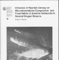 """Image of bibliography  AUTHOR:William R. Meehan  REMARKS:[from Abstract]: The community composition of macroinvertebrates and teh feeding habits of juvenile salmonids were studied in eight Oregon streams. Benthic, drift, sticky trap, and water trap samples were taken over a 3-year period, along with stomach samples of the fish. Samples were taken in stream reaches with and without riparian canopy....;  In all aquatic sample types, including fish stomachs, Diptera and Ephemeroptera were the predominant invertebrates collected. In sticky trap and water trap samples, Diptera and Collembola were the predominant orders, reflecting the input of terrestrial invertebrates."""" - report"""