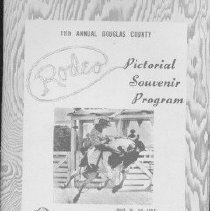 Image of photographs; roster  REMARKS:Program for the eleventh Douglas County Rodeo, held annually at the Douglas County Fairgrounds on the banks of the South Umpqua River. Inside page [ca. page 3] contains photographs of the 1955 members of the Rodeo Association. - program
