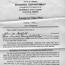 Image of Banking Dept. receipt of claim