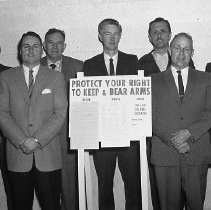 """Image of N7264 - REMARKS:Officers and/or members of the Right to Keep and Bear Arms Assoc. Front (left to right): Jim Brown; ?; ?; ?. Rear (left to right): Alan Knudtson and """"Bud"""" Schoon."""