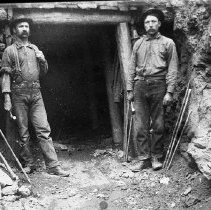 Image of N7345 - REMARKS:Rainbow Mine, ca. 1900, Douglas County. H.J. Banfield (left) and Joseph Baltazar.  OBJECT DATE:ca. 1900