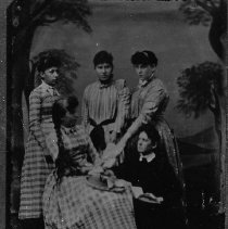 Image of N4674 - REMARKS:5 daughters of P.P. Palmer. (not in order) Allie Hill, Annie Perry, Mayme Schlegel, Augusta Cheshire, Edith Earl. From a tintype.