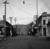Image of N13718 - REMARKS:Jackson Street looking north from the corner of Oak Street. Douglas County Bank is at far right. Roseburg, Oregon, pre-1906 - probably October 1904.  OBJECT DATE:October 1904