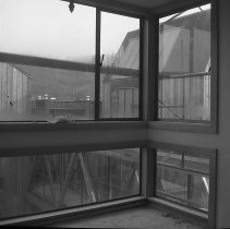 Image of N16229 - REMARKS:Douglas County Museum, Roseburg, OR, soon after it was built, 1969. Picture of Museum bridge taken through the window. Two views.