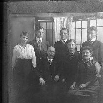 Image of N10151 - REMARKS:Rapp Family group (left to right): Rear: Gladys H. Rapp; Harry Godfrey Rapp; Geary George Rapp; Leon Dewey Rapp. Front: George Washington Rapp; Wallace Rapp; Mrs. George W. (Jessie) Rapp. Ca. 1920.  OBJECT DATE:ca. 1920