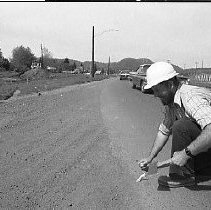 Image of N35.816 - REMARKS:Working on the birdge approach roads at Stewart Park, April 21, 1977.  OBJECT DATE:April 21, 1977