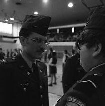 Image of N35.854 - REMARKS:ROTC inspection at Roseburg High School, February 10, 1977.,  OBJECT DATE:February 10, 1977