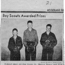 Image of Boy Scouts awarded prizes