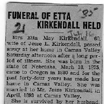 Image of Funeral of Etta Kirkendall