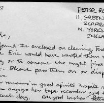 Image of Note from Peter Robson