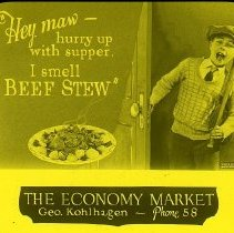"""Image of LS147 - Advertisement for """"Beef Stew"""" by Economy Market owned by George Kohlhagen dated February 1926"""