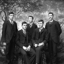 Image of GP8/10.124 - REMARKS:Group portrait of five young men, unidentified. They are dressed for some formal event.  OBJECT DATE:ca. 1890