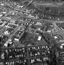 Image of N17291 - Aerial view of Roseburg, OR showing construction of new Justice Building behind the County Court House.  ca 1974