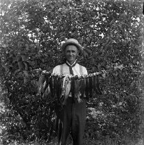 Image of GP5/7.1233 - Man holding many fish that he caught.  Ca 1900