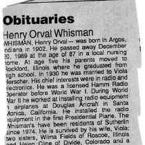 Image of Henry Orval Whisman obituary