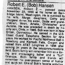 "Image of Robert E. ""Bob"" Hansen obituary"