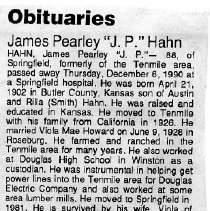 "Image of James Pearley ""J.P' Hahn obituary"