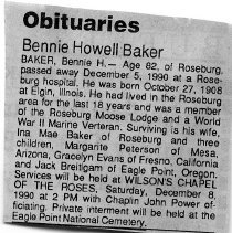 Image of Bennie Howell Baker obituary