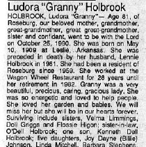 "Image of Ludora ""Granny"" Holbrook obituary"