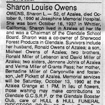 Image of Sharon Louise Owens obituary